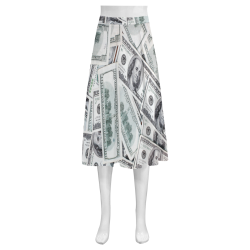 Cash Money / Hundred Dollar Bills Mnemosyne Women's Crepe Skirt (Model D16)