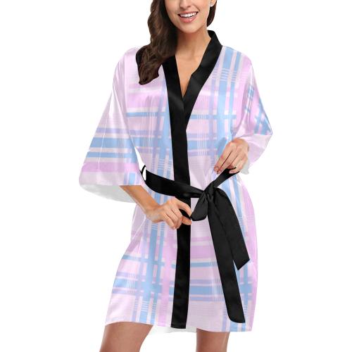 Pink Plaid Kimono Robe