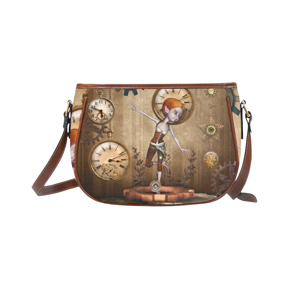 Steampunk girl, clocks and gears Saddle Bag/Large (Model 1649)