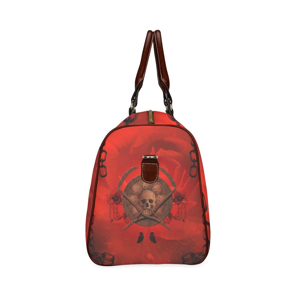 Skulls on red vintage background Waterproof Travel Bag/Small (Model 1639)