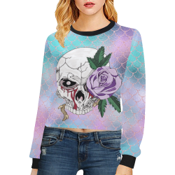 Skull Rose Lavender Sparkle Crop Pullover Sweatshirts for Women (Model H20)
