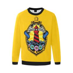 Lighthouse Modern Yellow Men's Oversized Fleece Crew Sweatshirt/Large Size(Model H18)