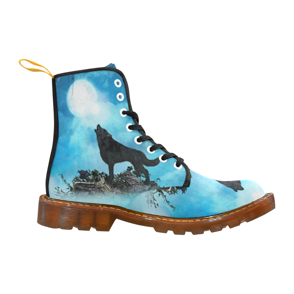 Beautiful black wolf Martin Boots For Women Model 1203H
