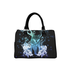 Awesome wolf with flowers Boston Handbag (Model 1621)