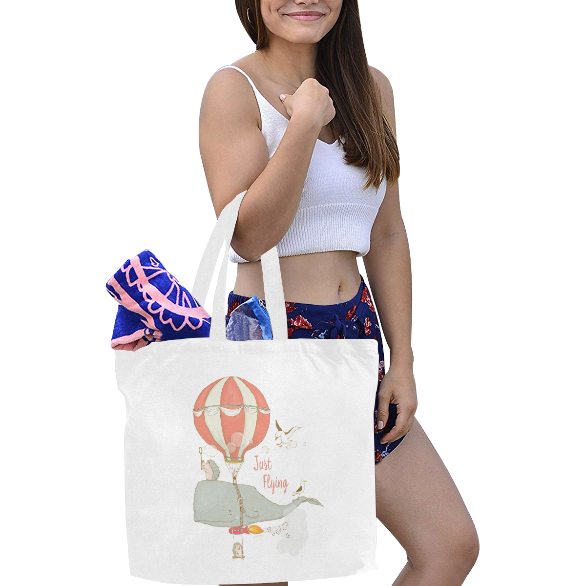 Just a flying Whale Canvas Tote Bag/Large (Model 1702)