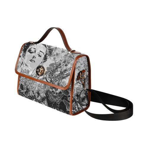 Lady and butterflies Waterproof Canvas Bag/All Over Print (Model 1641)