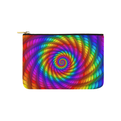 Psychedelic Rainbow Spiral  Pouch Carry-All Pouch 9.5''x6''