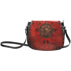 Skulls on red vintage background Classic Saddle Bag/Large (Model 1648)