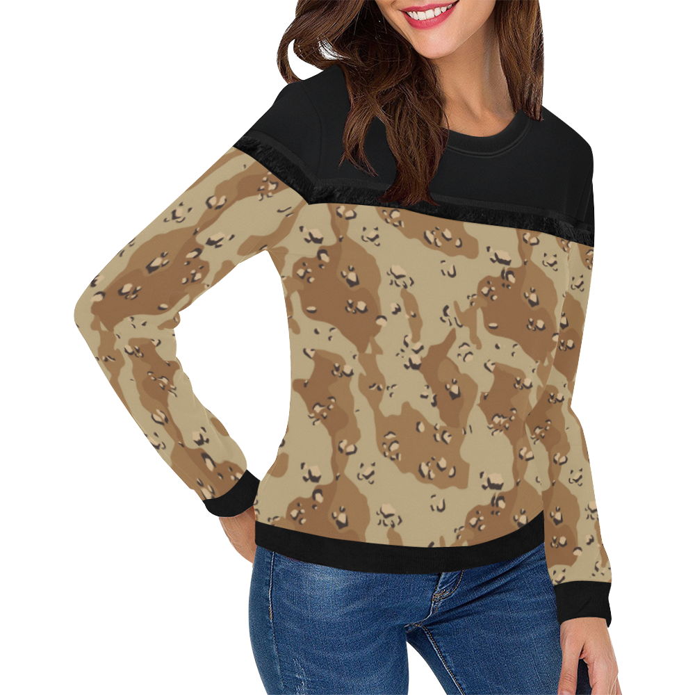 Vintage Desert Brown Camouflage Women's Fringe Detail Sweatshirt (Model H28)
