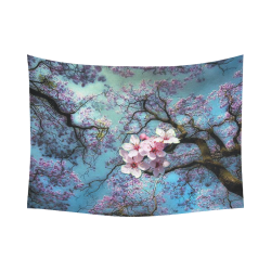 "Cherry blossomL Cotton Linen Wall Tapestry 80""x 60"""