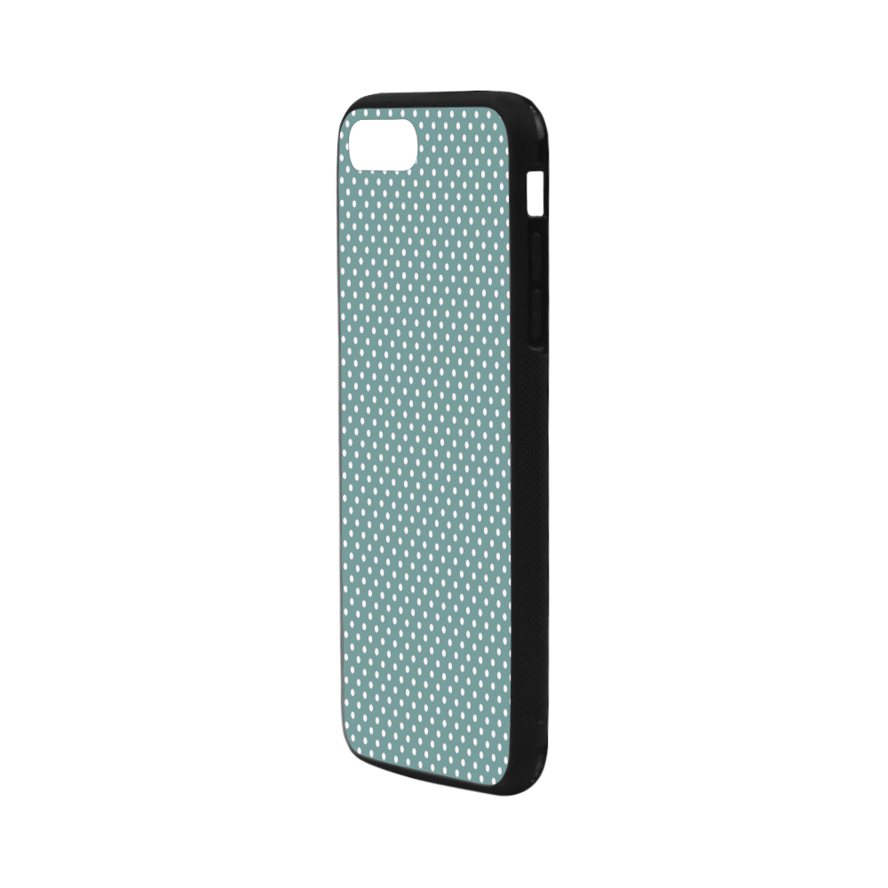 """Silver blue polka dots Rubber Case for iPhone 7 plus (5.5"""")"""