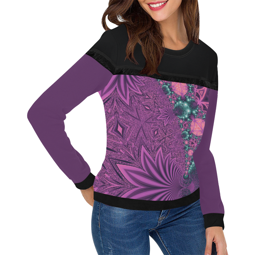 Pastel Jungle Leaves Women's Fringe Detail Sweatshirt (Model H28)