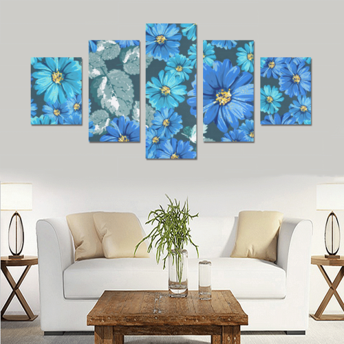 Gorgeous Blue Floral Canvas Print Sets B (No Frame)