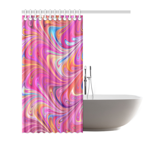 """Showering with Pink Waves Shower Curtain 72""""x72"""""""