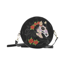 Sugar Skull Horse Red Roses Round Sling Bag (Model 1647)