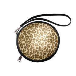 Leopard Fabric Animal Pattern Round Makeup Bag (Model 1625)