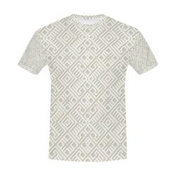 White 3D Geometric Pattern All Over Print T-Shirt for Men (USA Size) (Model T40)