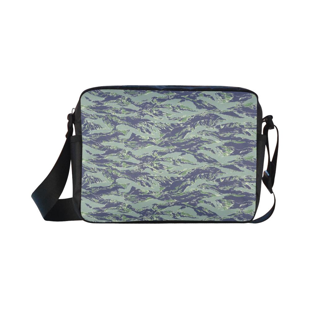 Jungle Tiger Stripe Green Camouflage Classic Cross-body Nylon Bags (Model 1632)