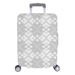 "Abstract geometric pattern - gray and white. Luggage Cover/Large 26""-28"""