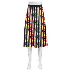 Kente Stripes Mnemosyne Women's Crepe Skirt (Model D16)