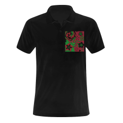 Red, Green and Black Abstract 2020 Men's Polo Shirt (Model T24)