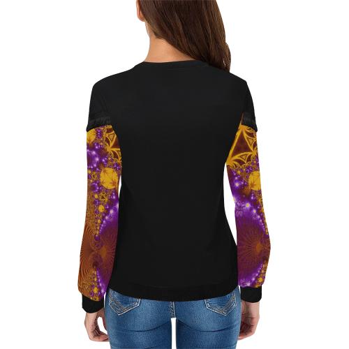 Sunset Jungle Leaves Women's Fringe Detail Sweatshirt (Model H28)
