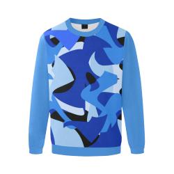 Camouflage Abstract Blue and Black (Vest Style) Blue Men's Oversized Fleece Crew Sweatshirt (Model H18)