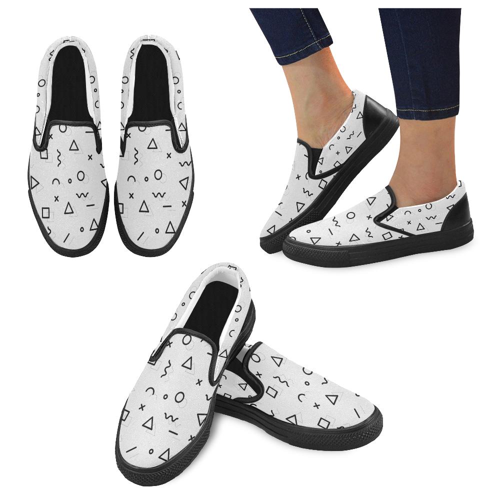 Shapes Women's Unusual Slip-on Canvas Shoes (Model 019)