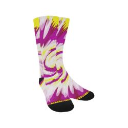 Pink Yellow Tie Dye Swirl Abstract Trouser Socks