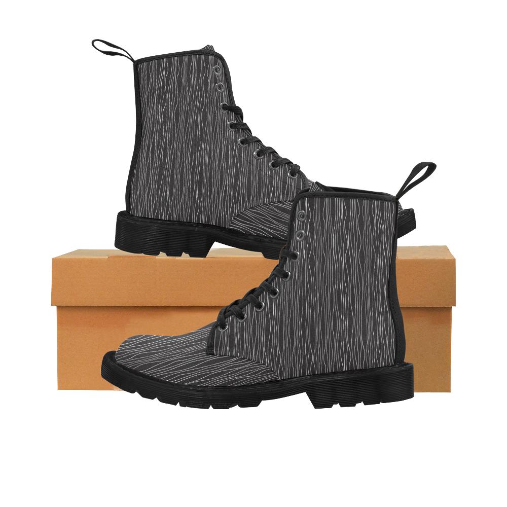 White lines Martin Boots for Women (Black) (Model 1203H)