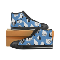 Men's Abstract Blue High Tops Men's Classic High Top Canvas Shoes (Model 017)