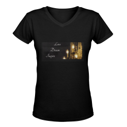 Glittering Chandelier #LoveDreamInspireCo Women's Deep V-neck T-shirt (Model T19)