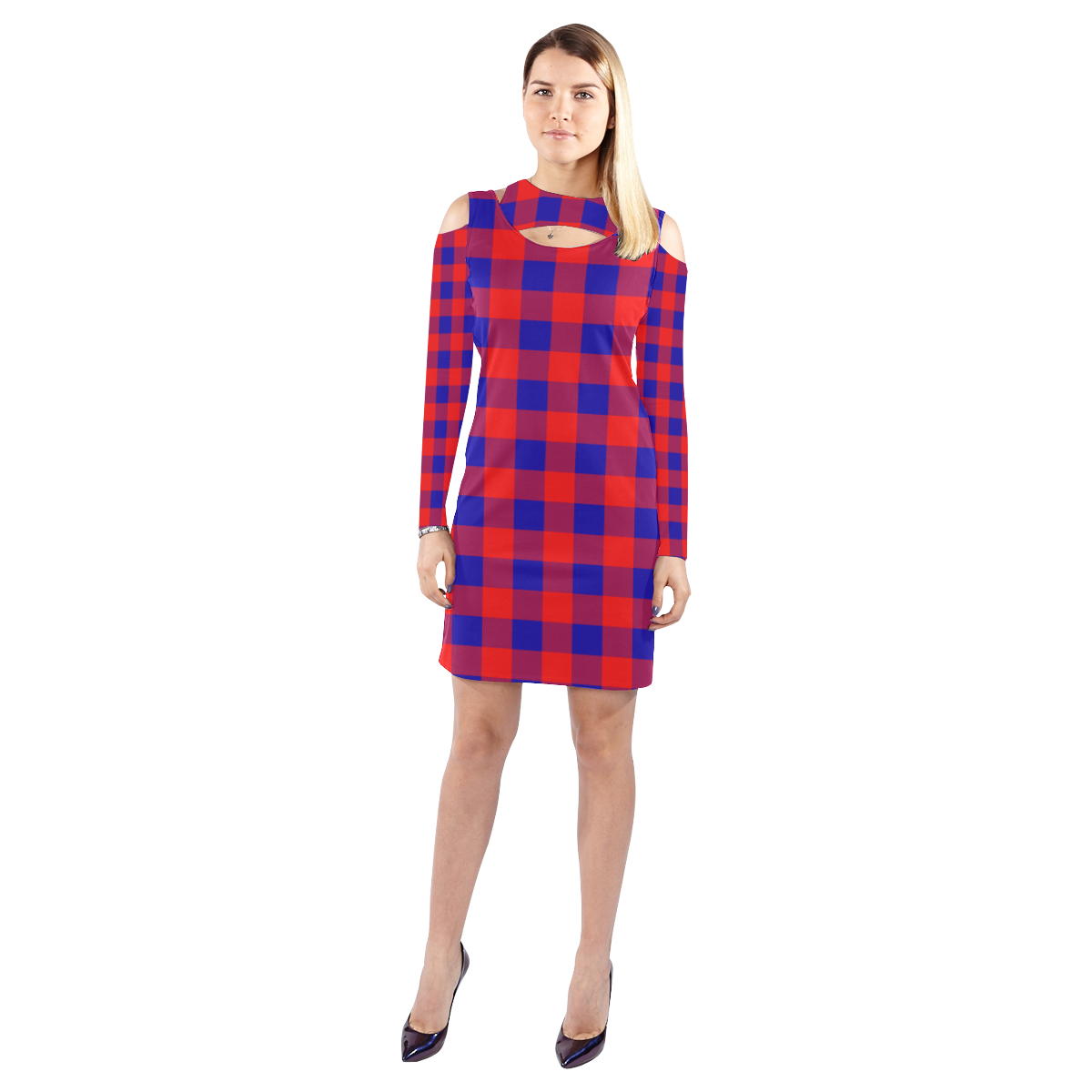 Red and Blue Checkered Cold Shoulder Long Sleeve Dress (Model D37)