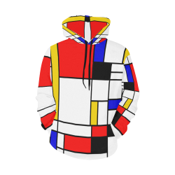 Bauhouse Composition Mondrian Style All Over Print Hoodie for Men/Large Size (USA Size) (Model H13)