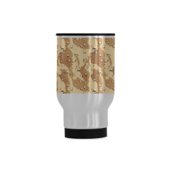 Vintage Desert Brown Camouflage Travel Mug (Silver) (14 Oz)