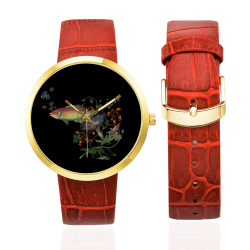 Fish With Flowers Surreal Women's Golden Leather Strap Watch(Model 212)