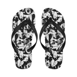 Black and White Pop Art by Nico Bielow Flip Flops for Men/Women (Model 040)