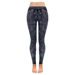 3d Psychedelic Ultra Violet Powder Pastel New Low Rise Leggings (Flatlock Stitch) (Model L07)