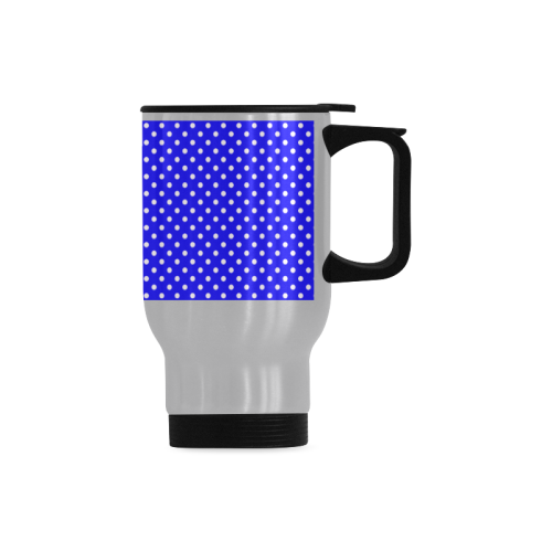 Blue polka dots Travel Mug (Silver) (14 Oz)