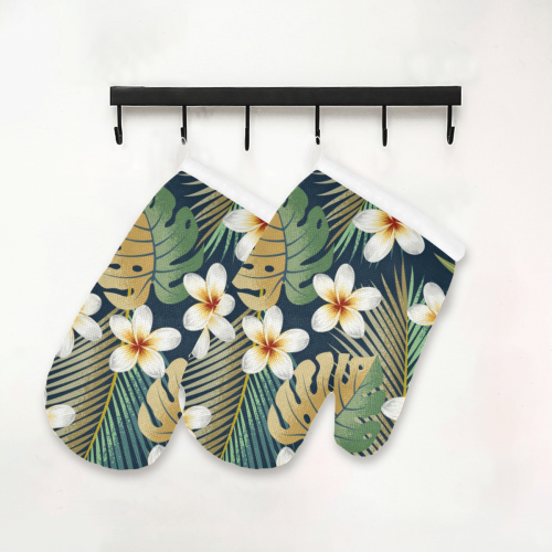 Gorgeous Tropical Exotic Floral Oven Mitt (Two Pieces)