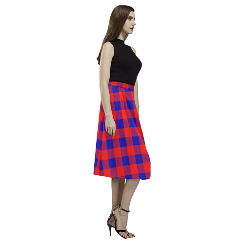 Red and Blue Checkered Aoede Crepe Skirt (Model D16)