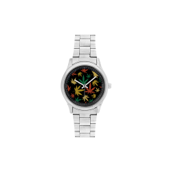 Cannabis Pattern Men's Stainless Steel Watch(Model 104)