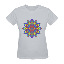 Brilliant Star Mandala Grey Sunny Women's T-shirt (Model T05)