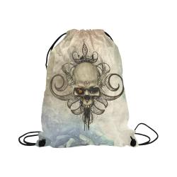 "Creepy skull, vintage background Large Drawstring Bag Model 1604 (Twin Sides)  16.5""(W) * 19.3""(H)"