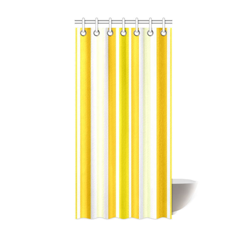 "Sunshine Yellow Stripes Shower Curtain 36""x72"""