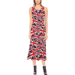 Union Jack British UK Flag Phaedra Sleeveless Open Fork Long Dress (Model D08)