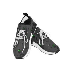 Alien Flying Saucers Stars Pattern (White/Charcoal) Men's Draco Running Shoes (Model 025)