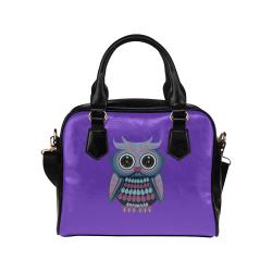 Star Eye Owl - Blue Purple Shoulder Handbag (Model 1634)