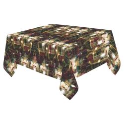 """Golden Christmas Nutcrackers Cotton Linen Tablecloth 52""""x 70"""""""