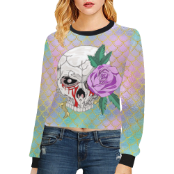 Skull Rose Pink Sparkle Crop Pullover Sweatshirts for Women (Model H20)
